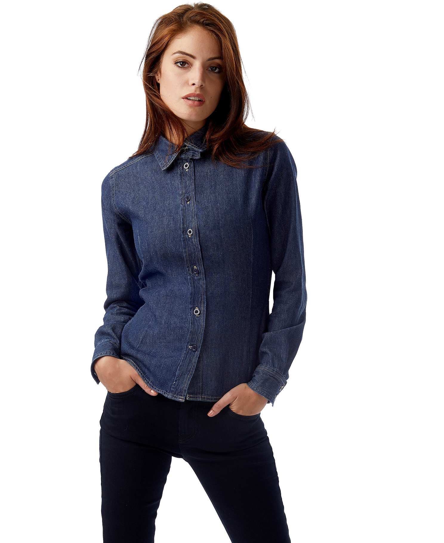 B&C: Ladies` Denim Shirt LS DNM Vision Women SWD86