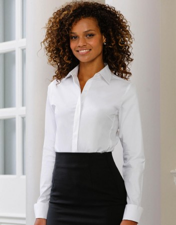 Russell Europe: Ladies` LS Ultimate Stretch Shirt R-960F-0 – Bild 1