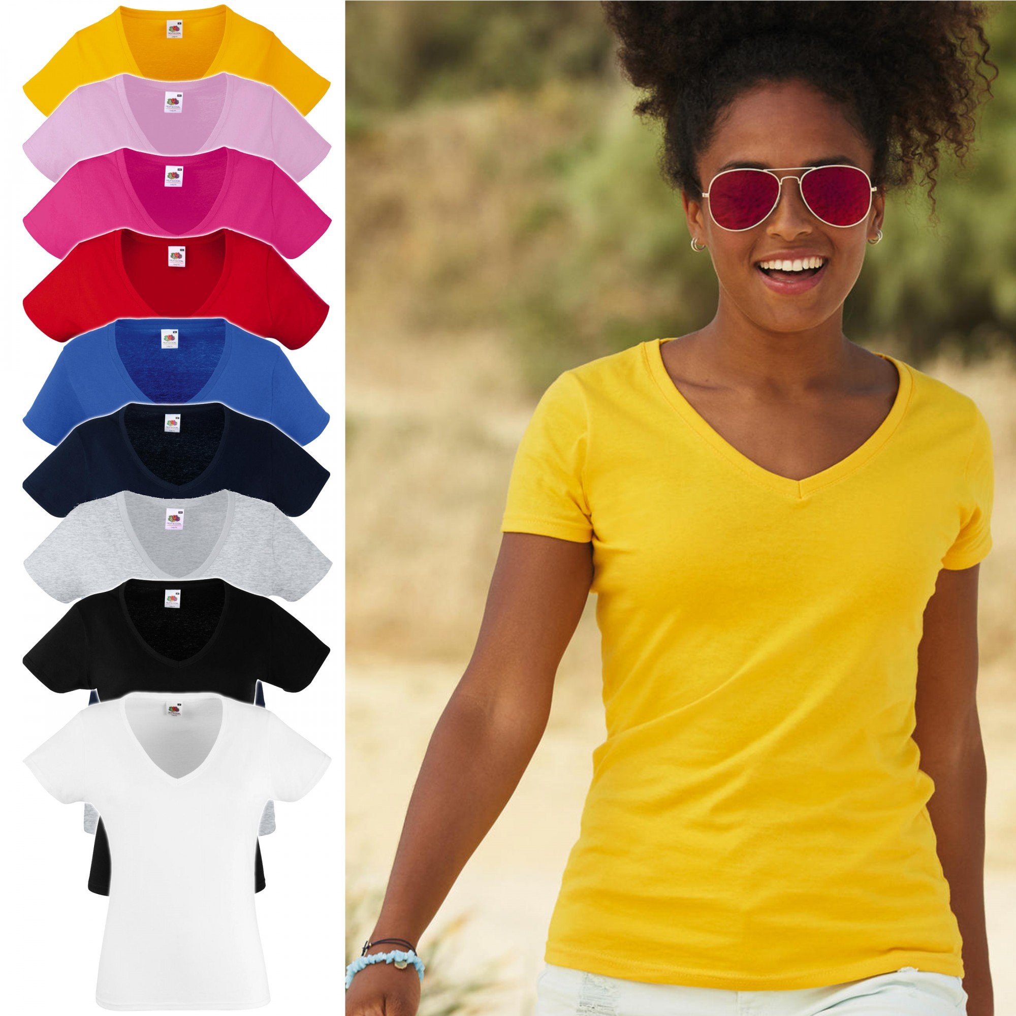 Fruit of the Loom: Lady-Fit Valueweight V-neck T 61-398-0