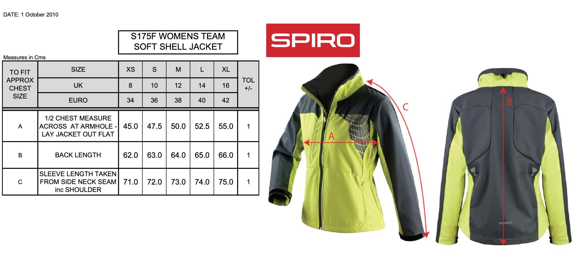 Result: Ladies` Spiro Team Soft Shell Jacket S175F