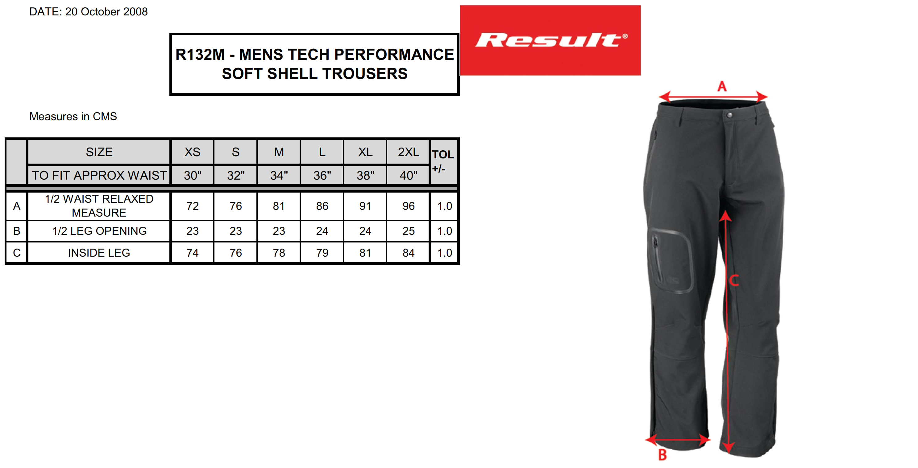 Result: Performance Soft Shell Trousers R132M
