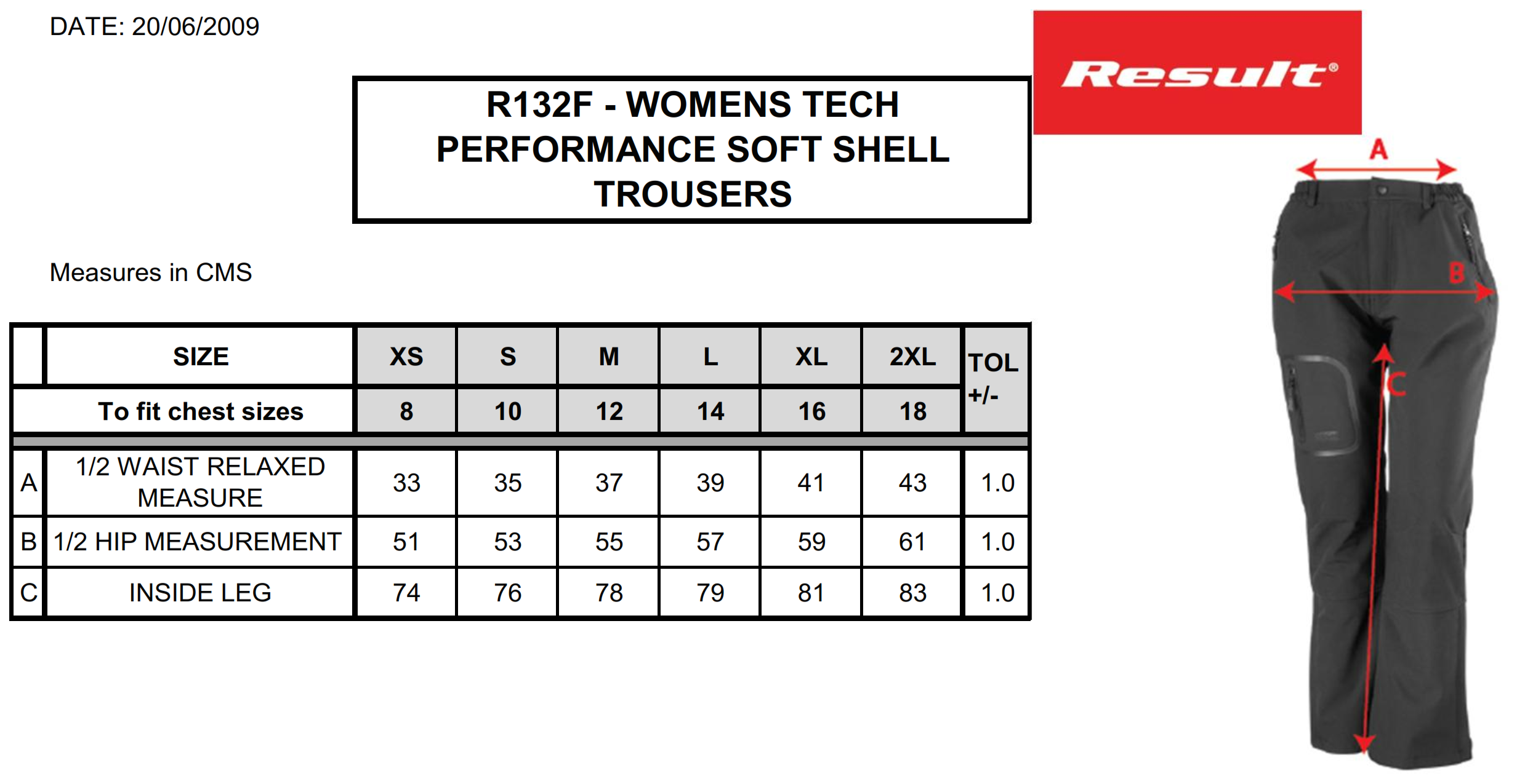 Result: Ladies` Soft Shell Trousers R132F
