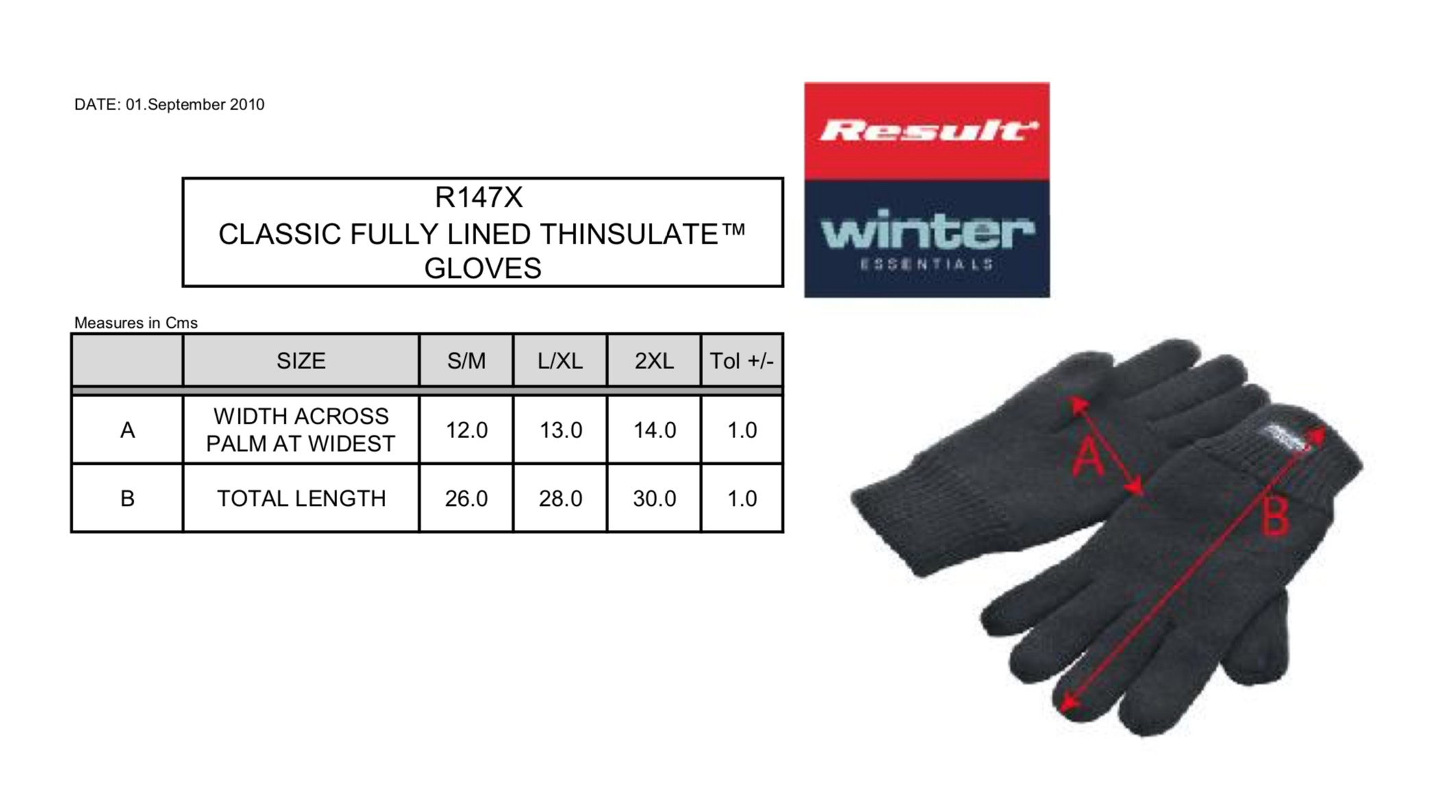 Result: Fully Lined Thinsulate Gloves R147X