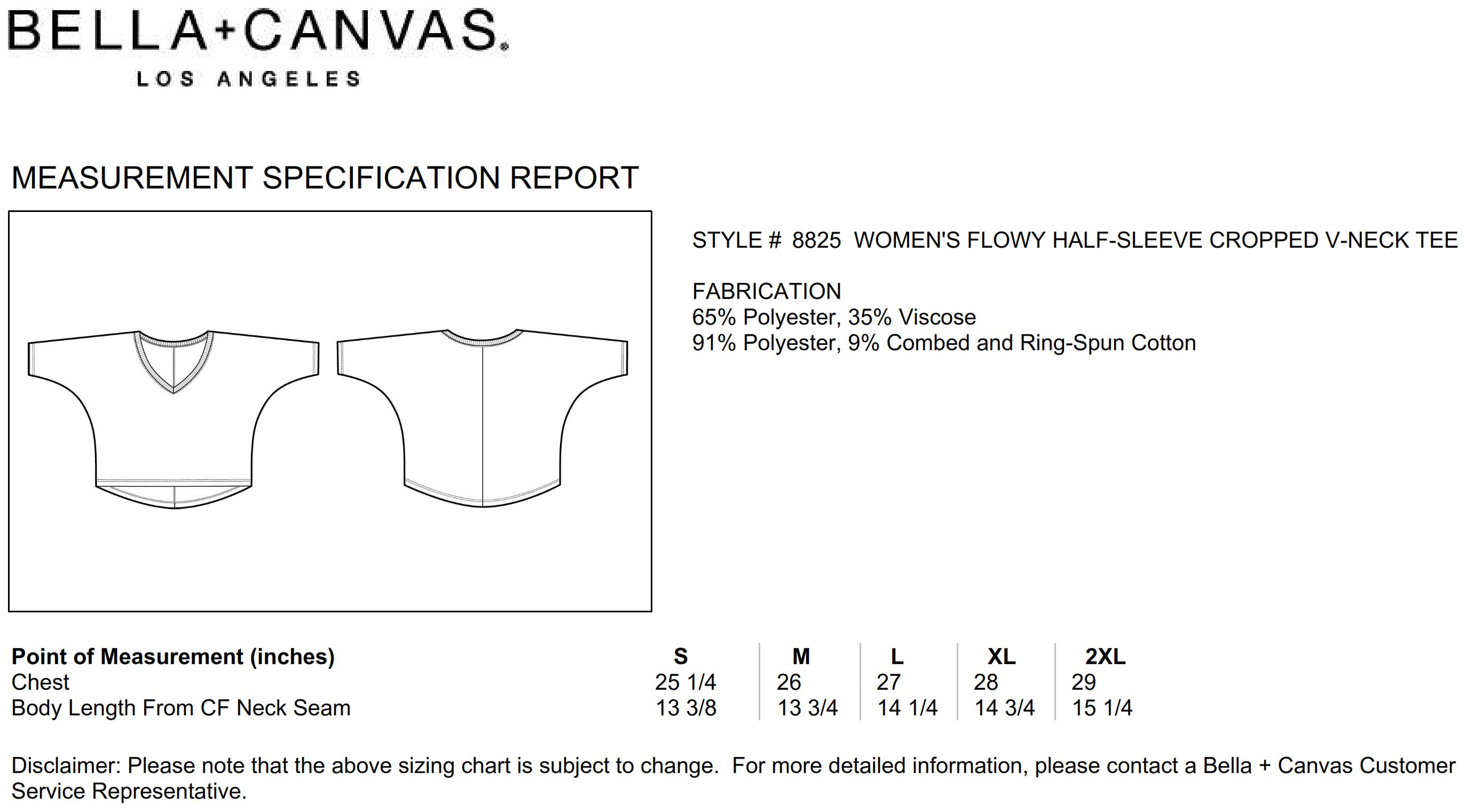 Bella+Canvas: Flowy Boxy V-Neck T-Shirt 8825