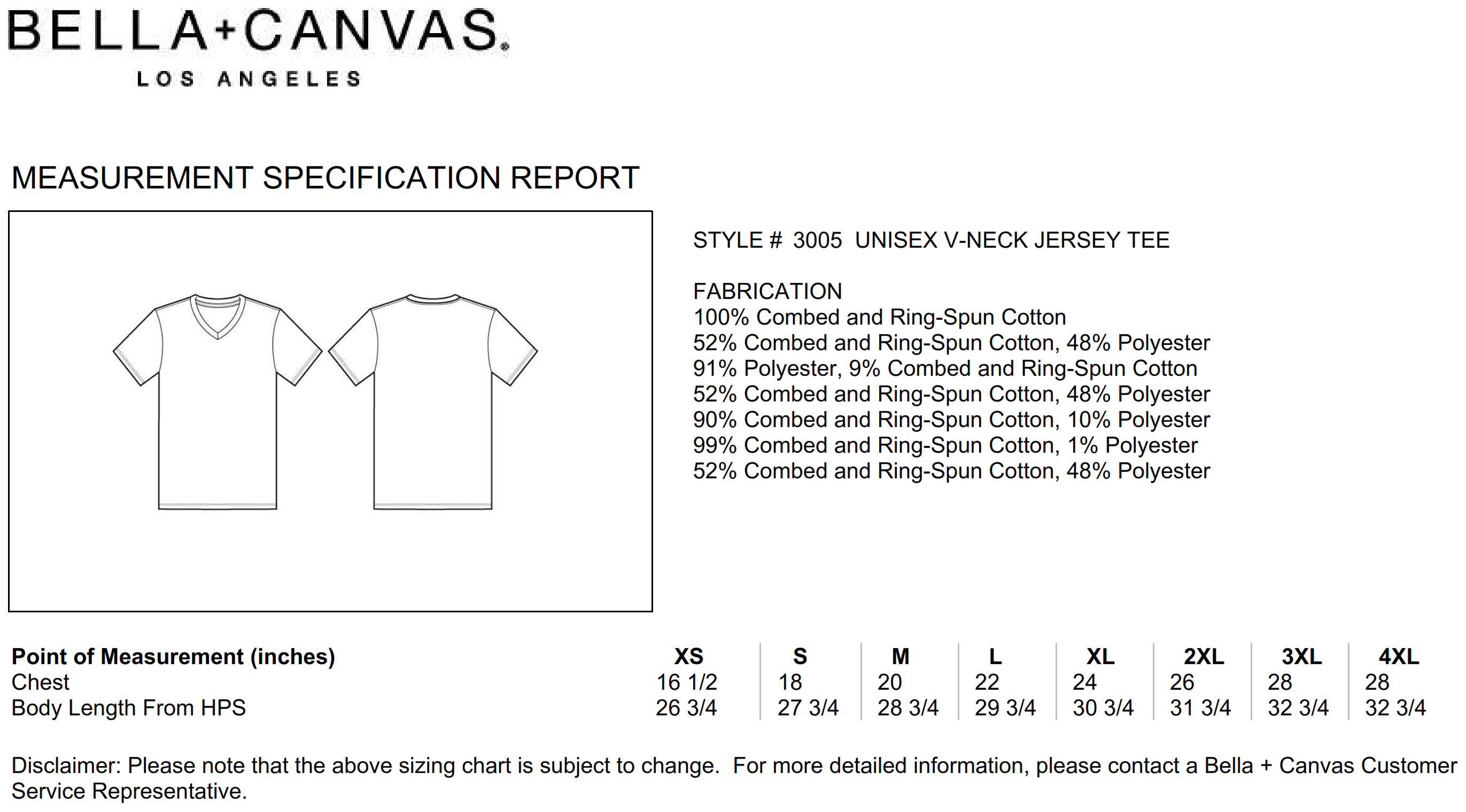 Bella+Canvas: Men`s Jersey V-Neck T-Shirt 3005