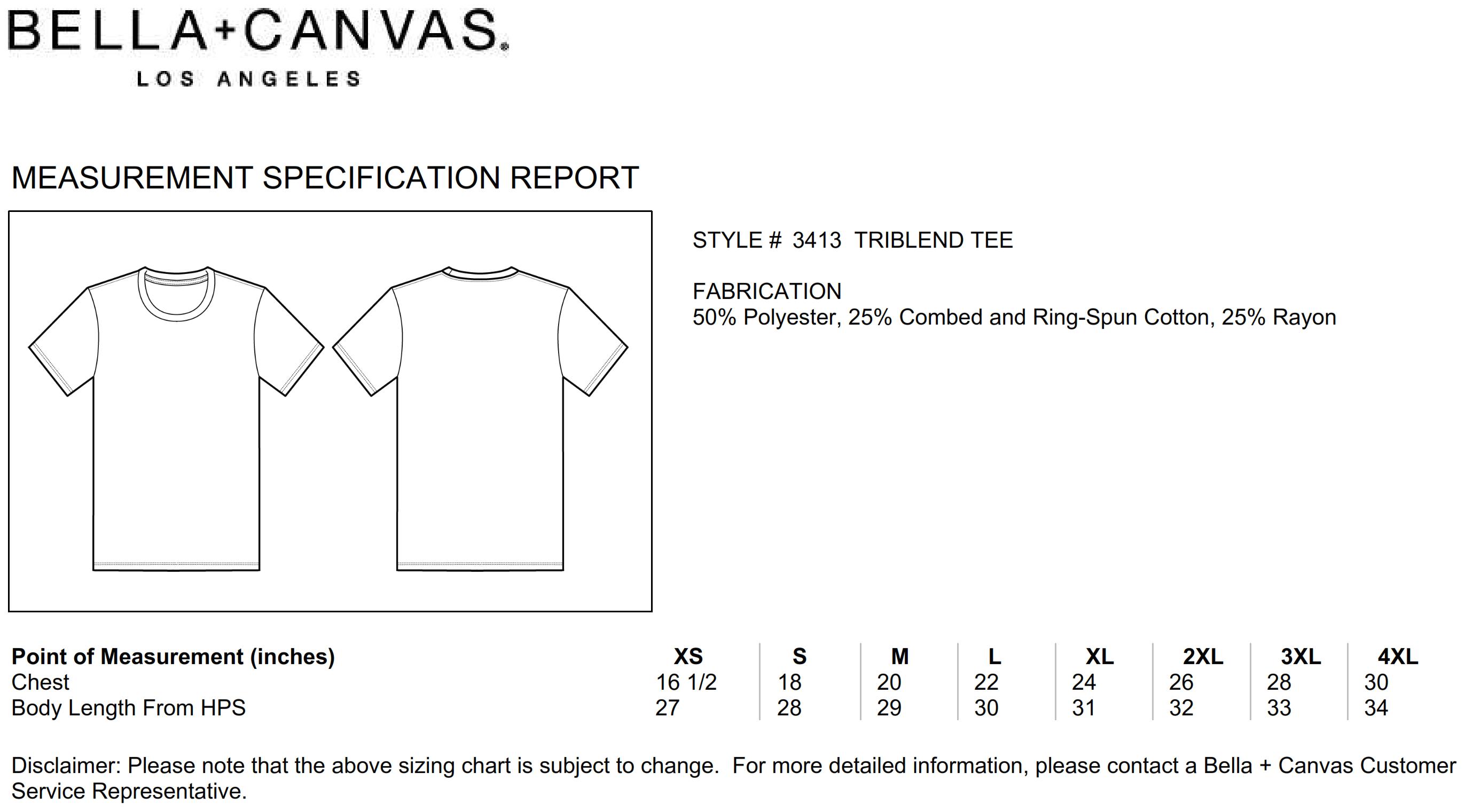 Bella+Canvas: Unisex Triblend Crew Neck T-Shirt 3413