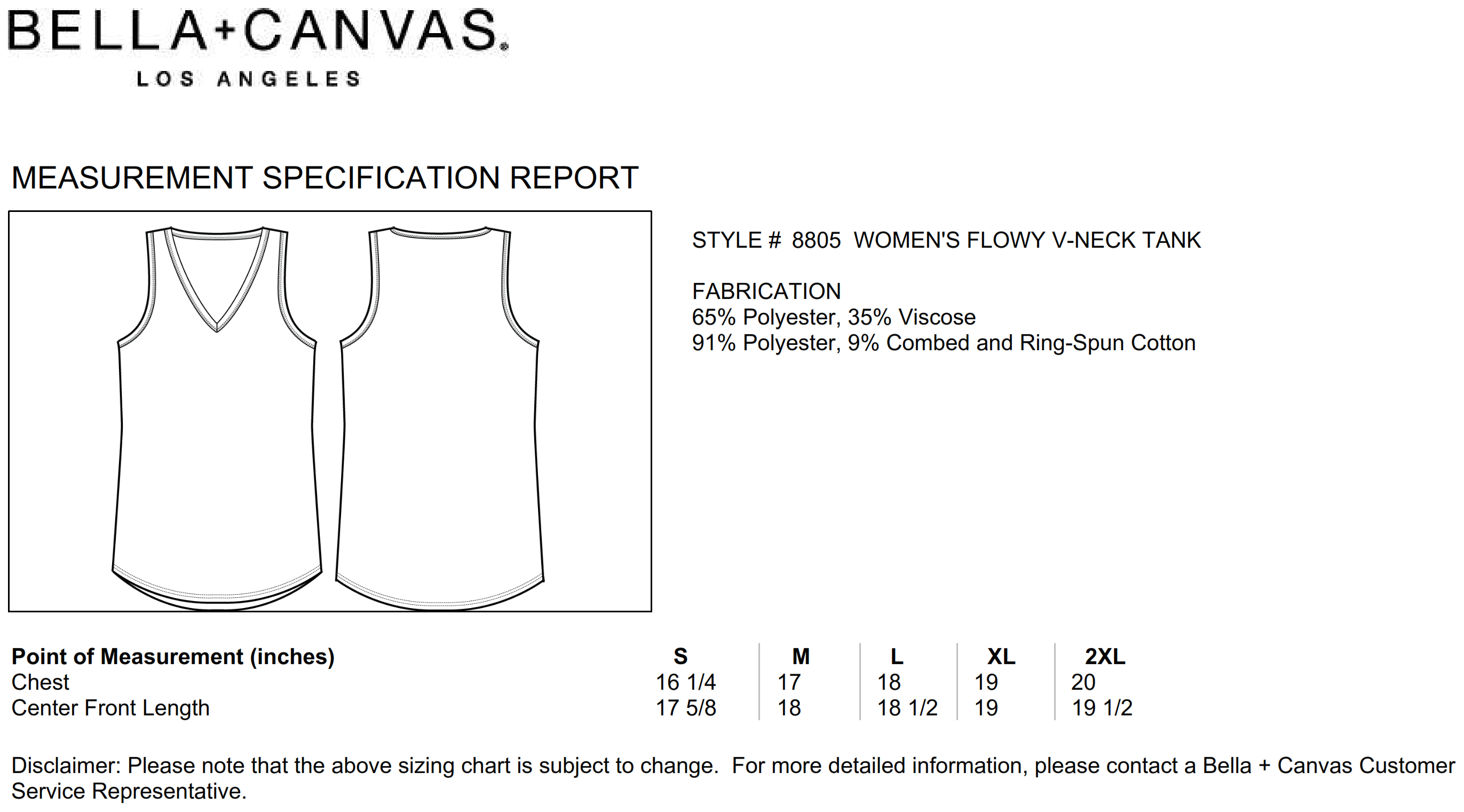 Bella+Canvas: Flowy V-Neck Tank 8805