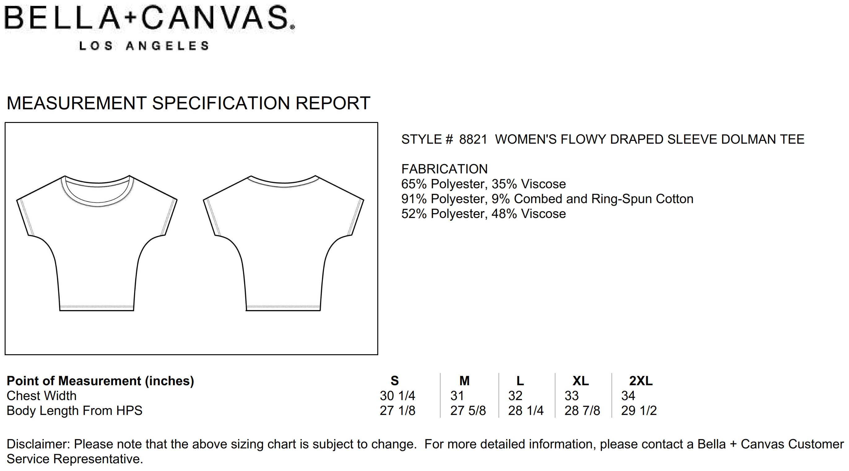 Bella+Canvas: Flowy Draped Sleeve Dolman T-Shirt 8821