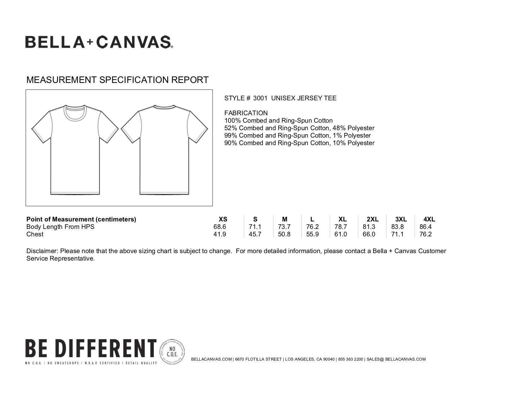 Bella+Canvas: Unisex Short Sleeve T-Shirt 3001