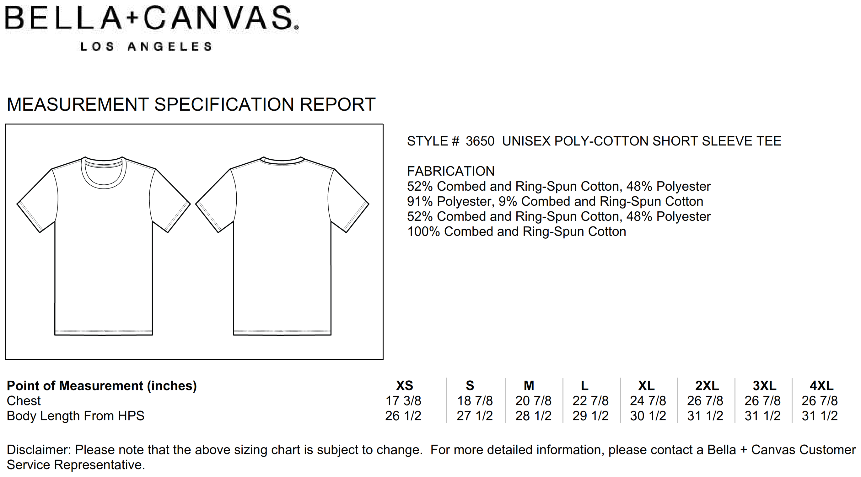 Bella+Canvas: Unisex Poly-Cotton T-Shirt 3650