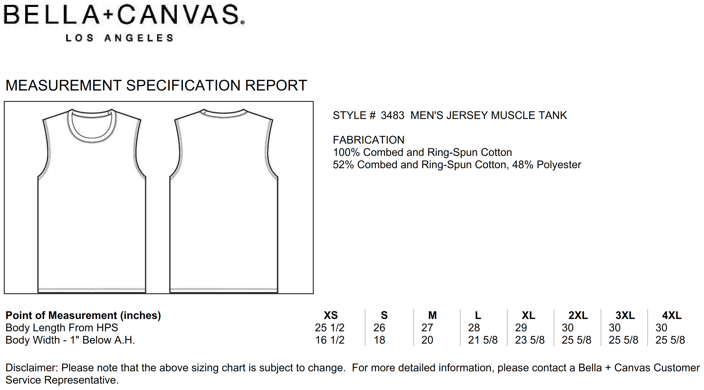 Bella+Canvas: Men`s Jersey Muscle Tank Top 3483