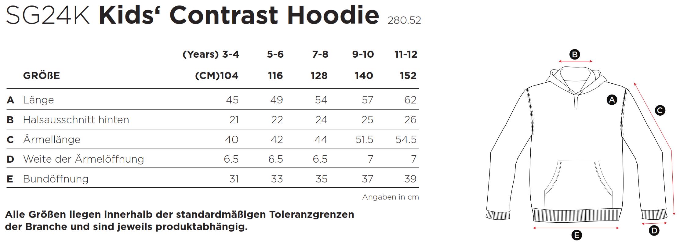 SG: Kids` Contrast Hoodie SG24K