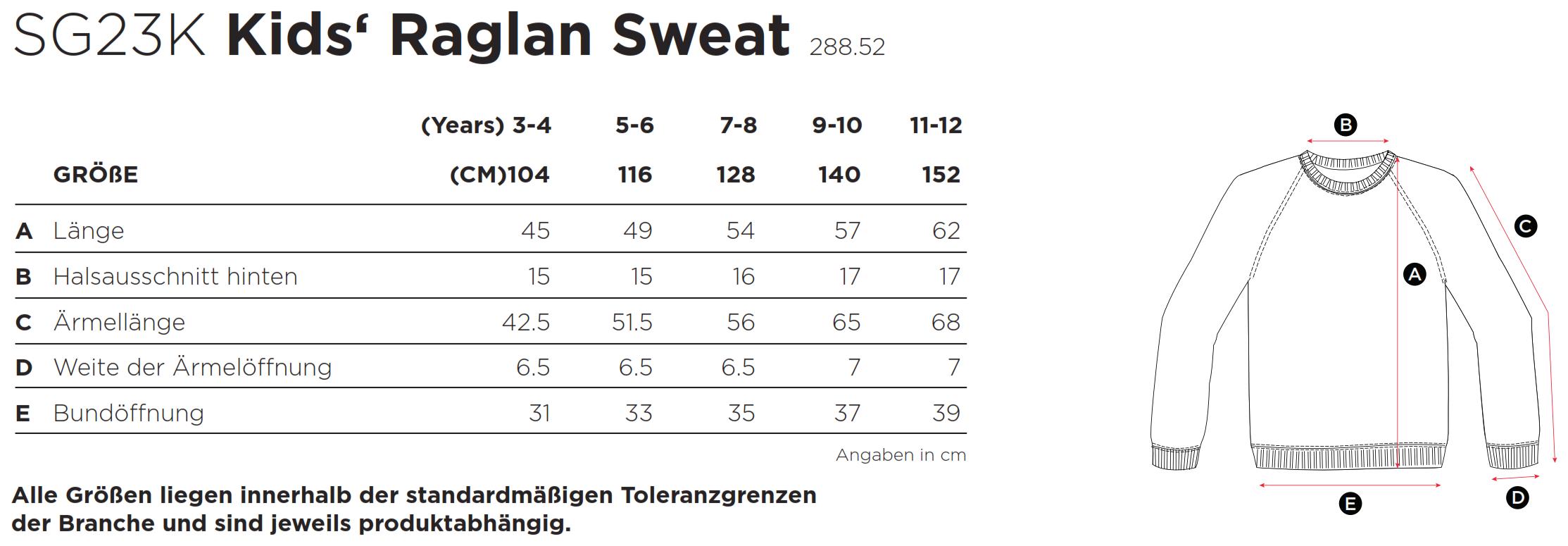 SG: Kids` Raglan Sweat SG23K