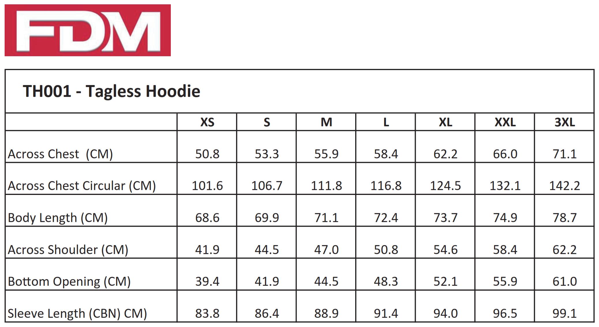 FDM: Unisex Tagless Hoodie TH001