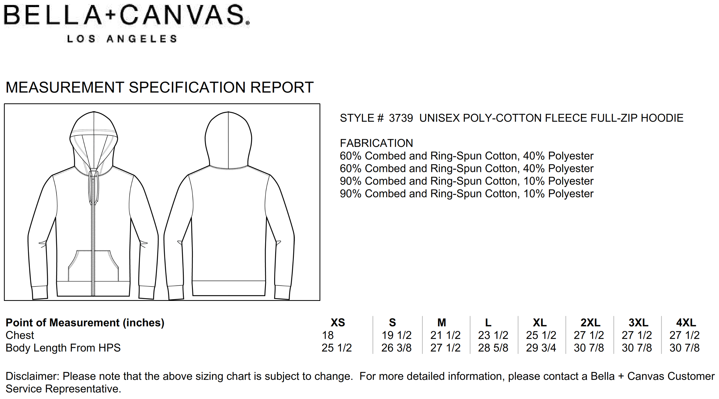 Bella+Canvas: Unisex Poly-Cotton Full Zip Hoodie 3739