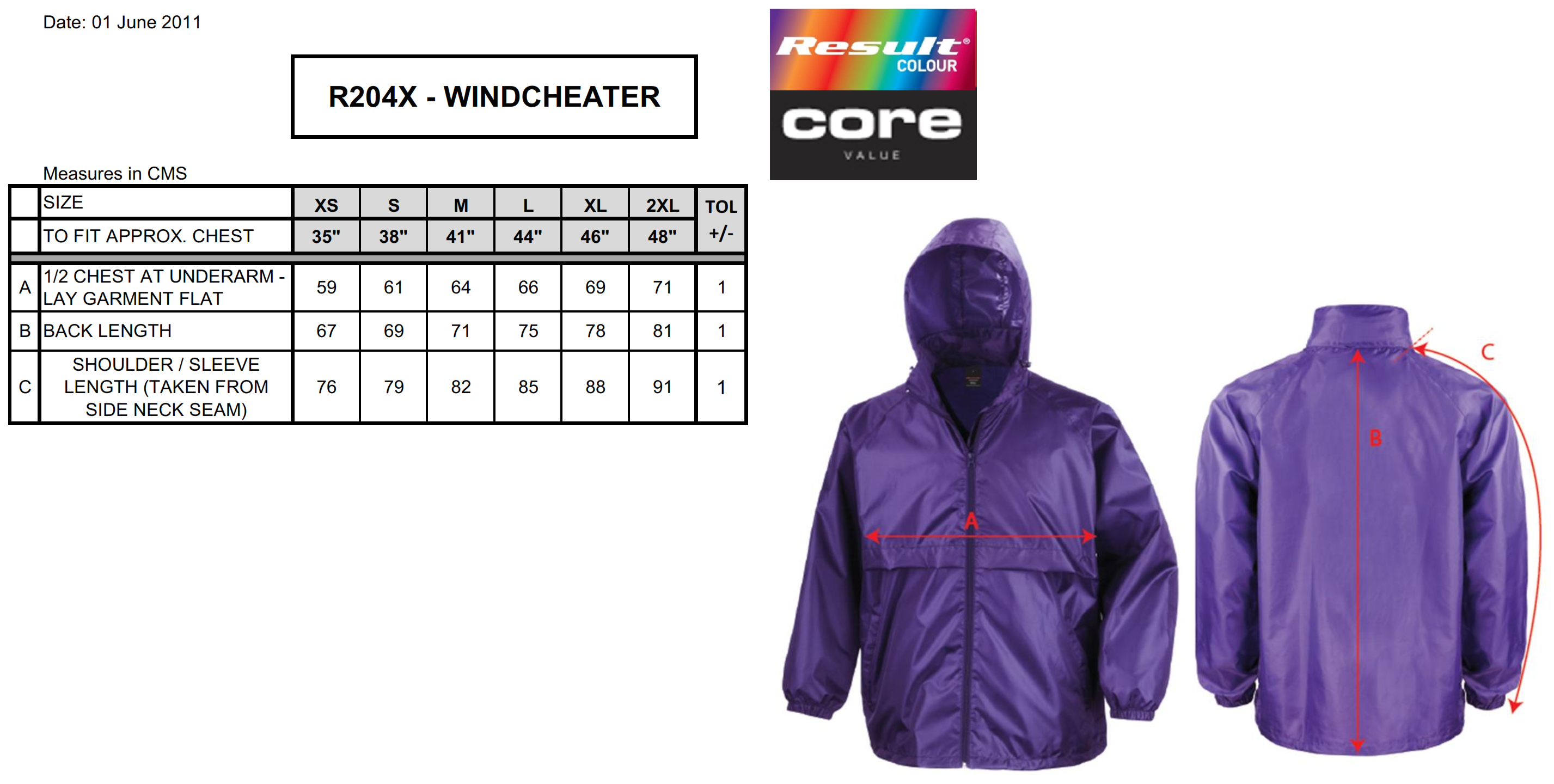 Result: Core Adult Windcheater R204X