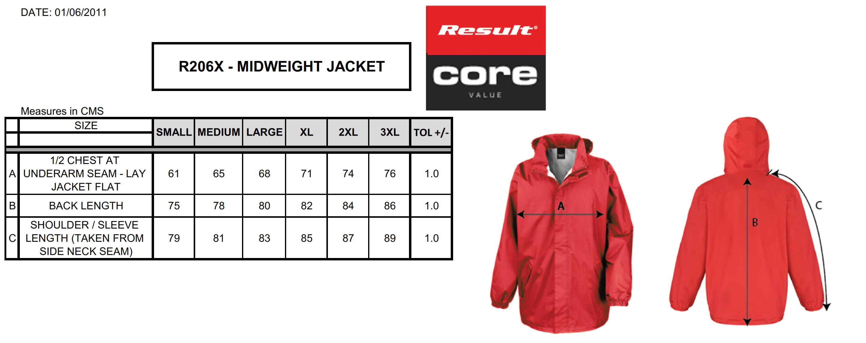 Result: Core Midweight Jacket R206X