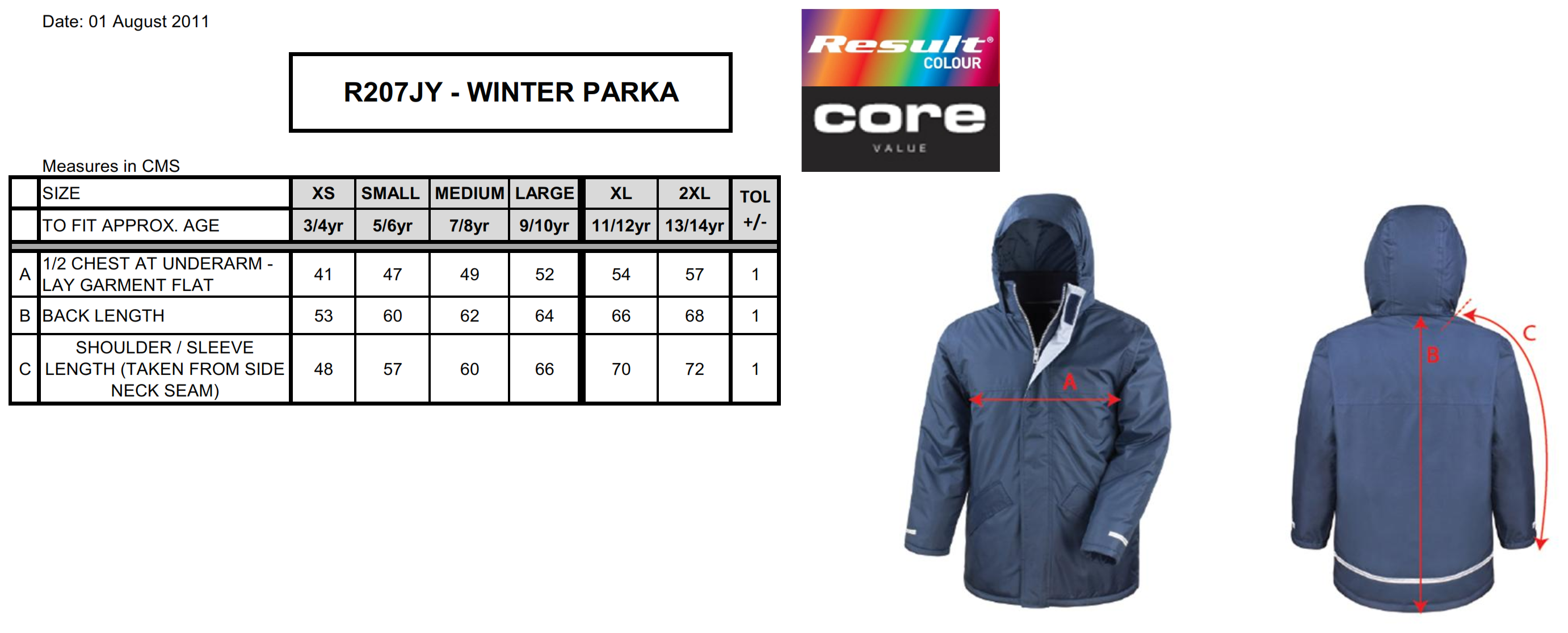 Result: Kids` Core Winter Parka R207J/Y