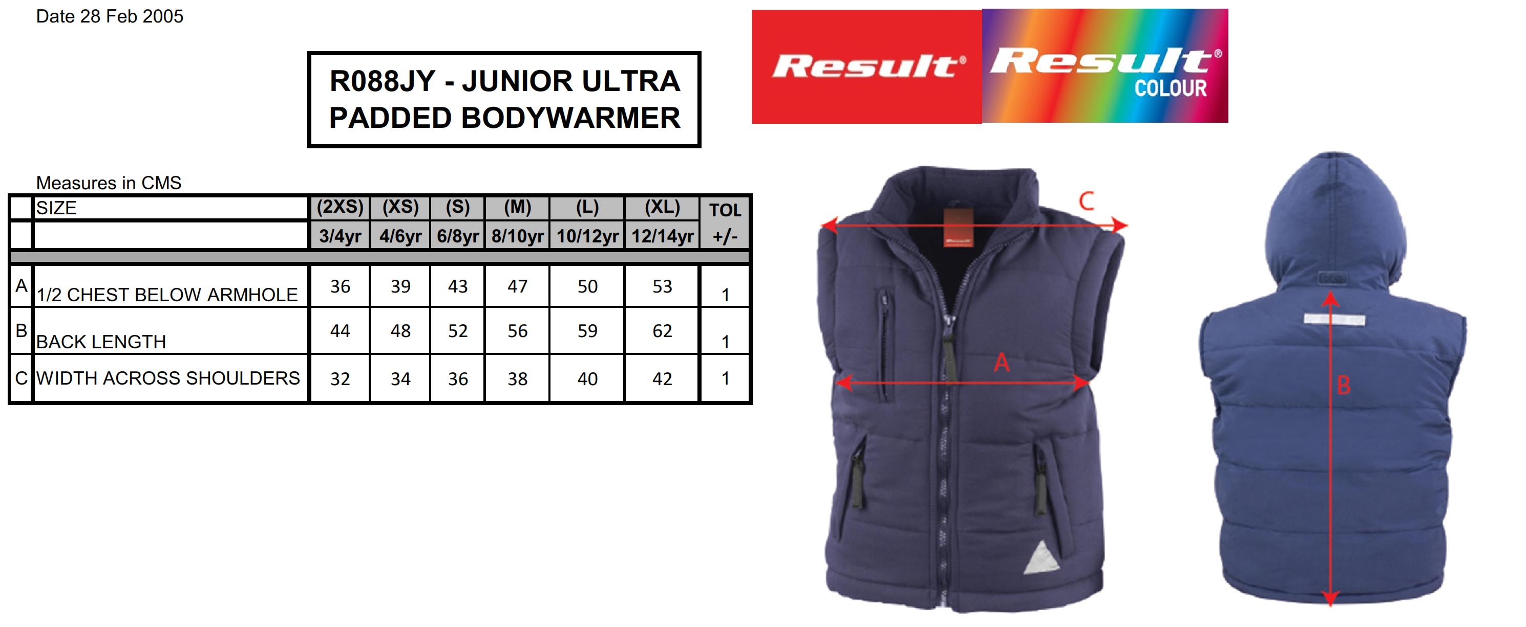 Result: Junior Ultra Padded Bodywarmer R088J