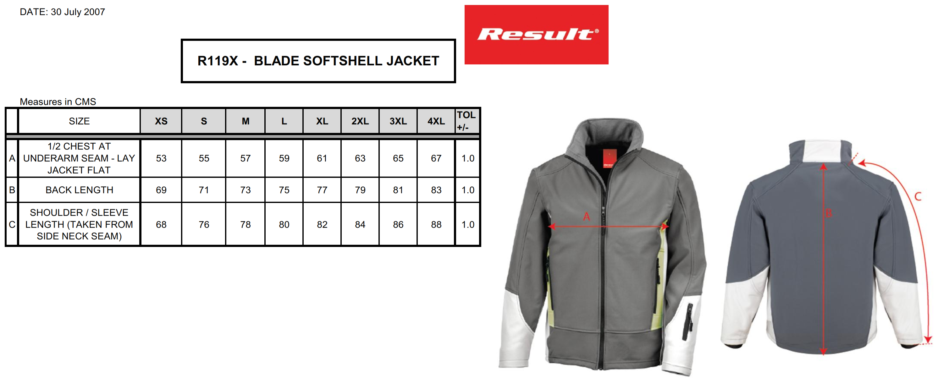 Result: Blade Soft Shell Jacket R119X