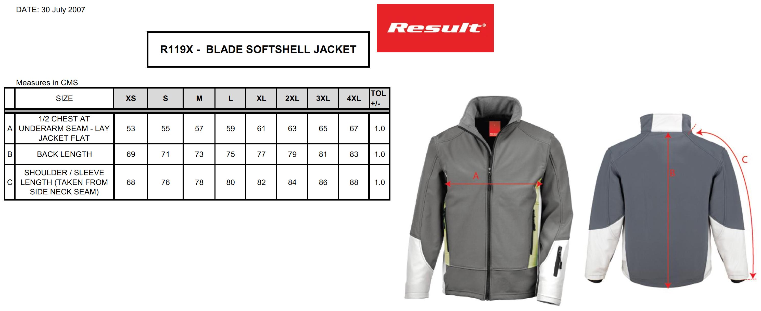 Result: Blade Soft Shell Jacket R119X