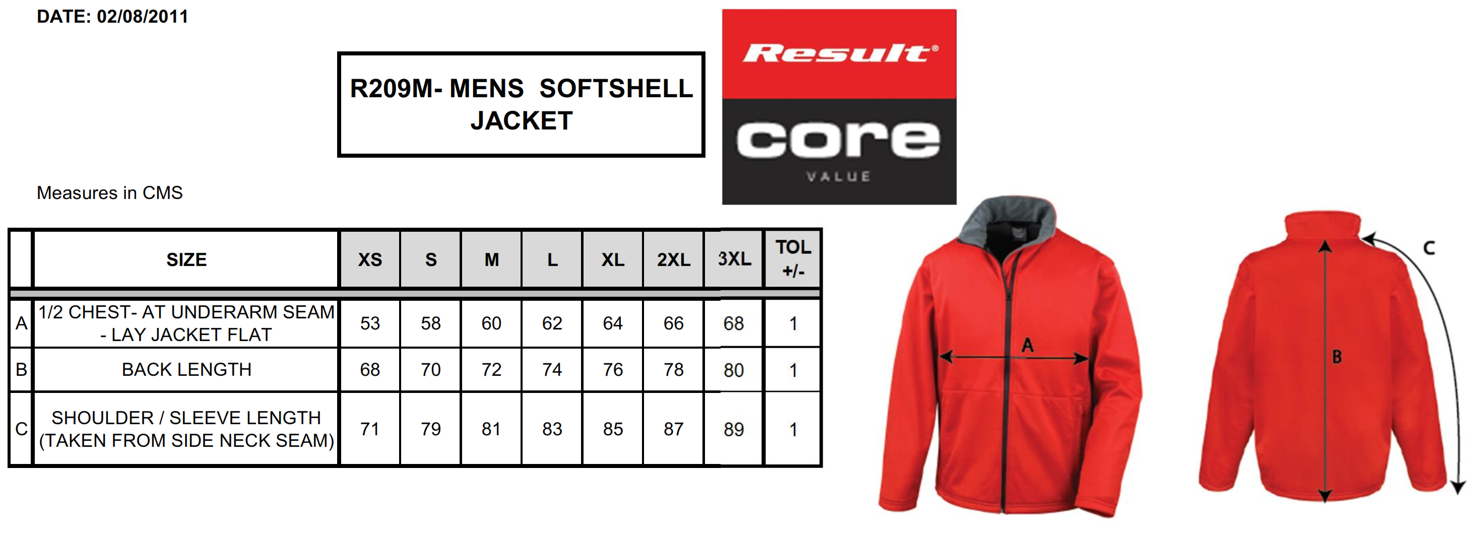 Result: Core Softshell Jacket R209M