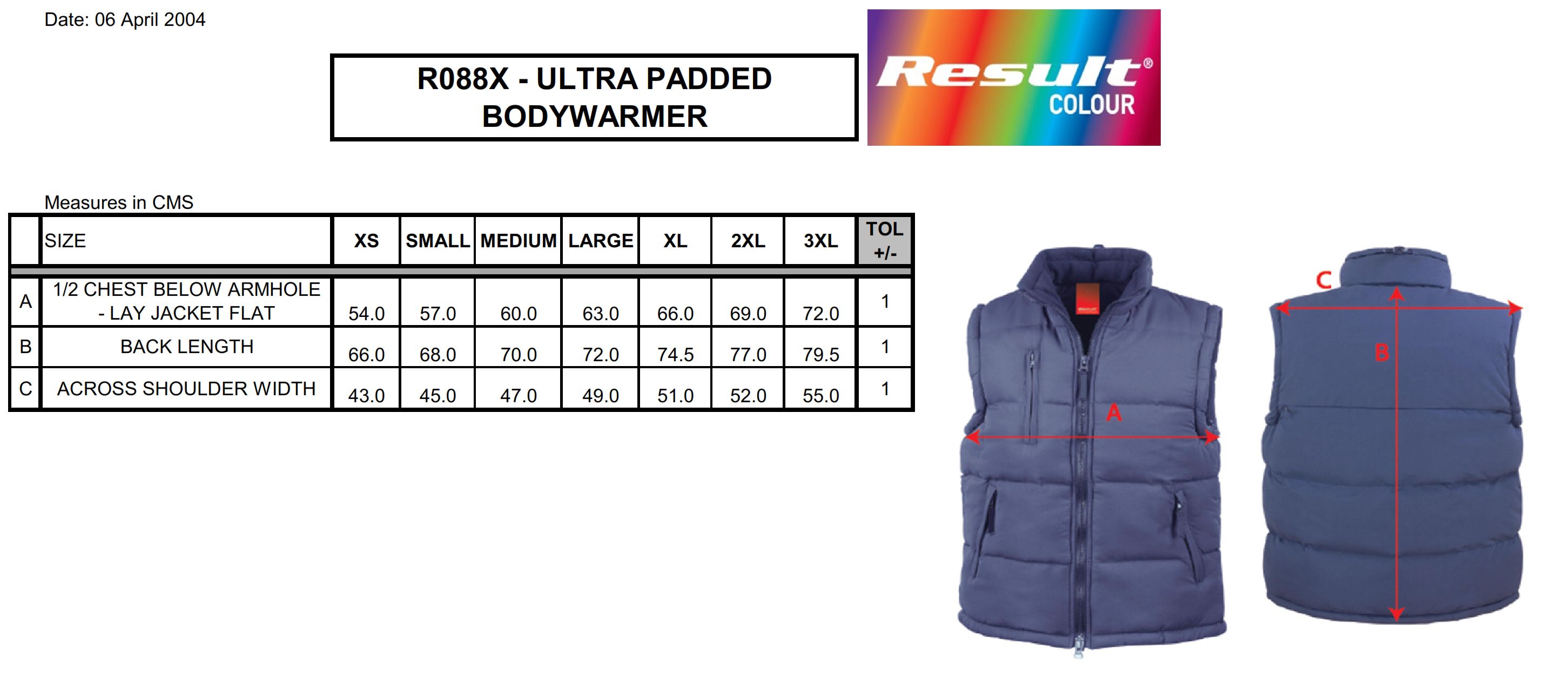 Result: Windproof Bodywarmer R088X