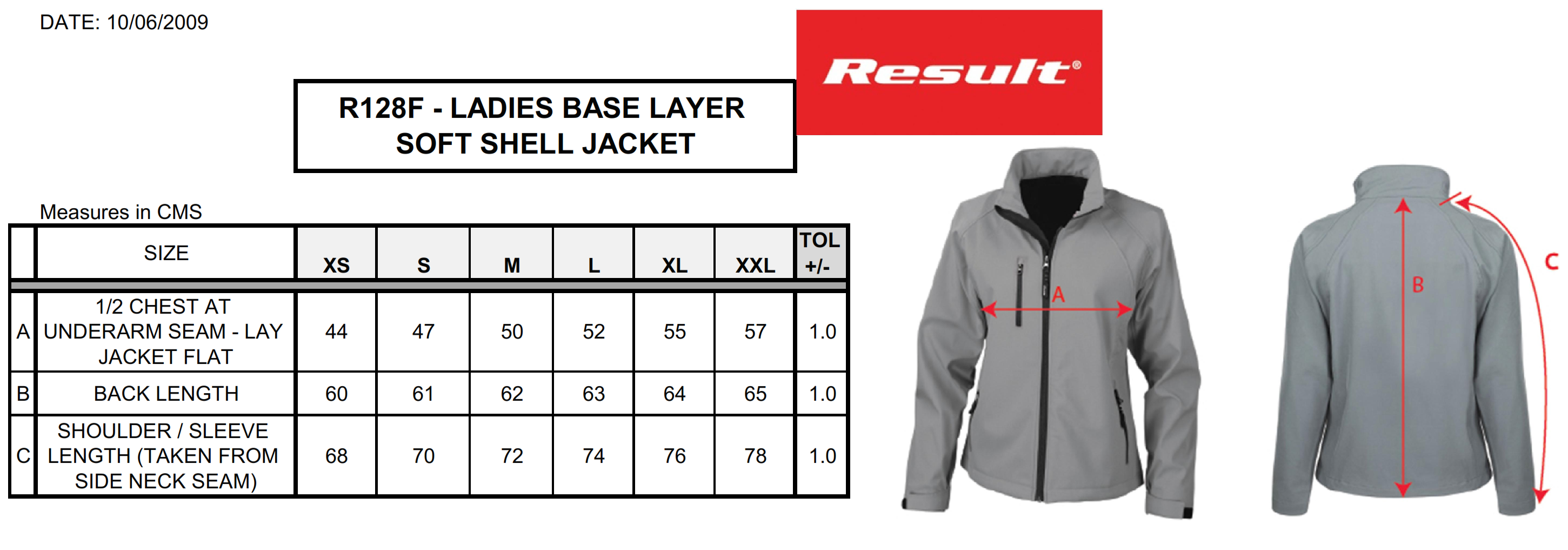 Result: Ladies Base Layer Soft Shell R128F