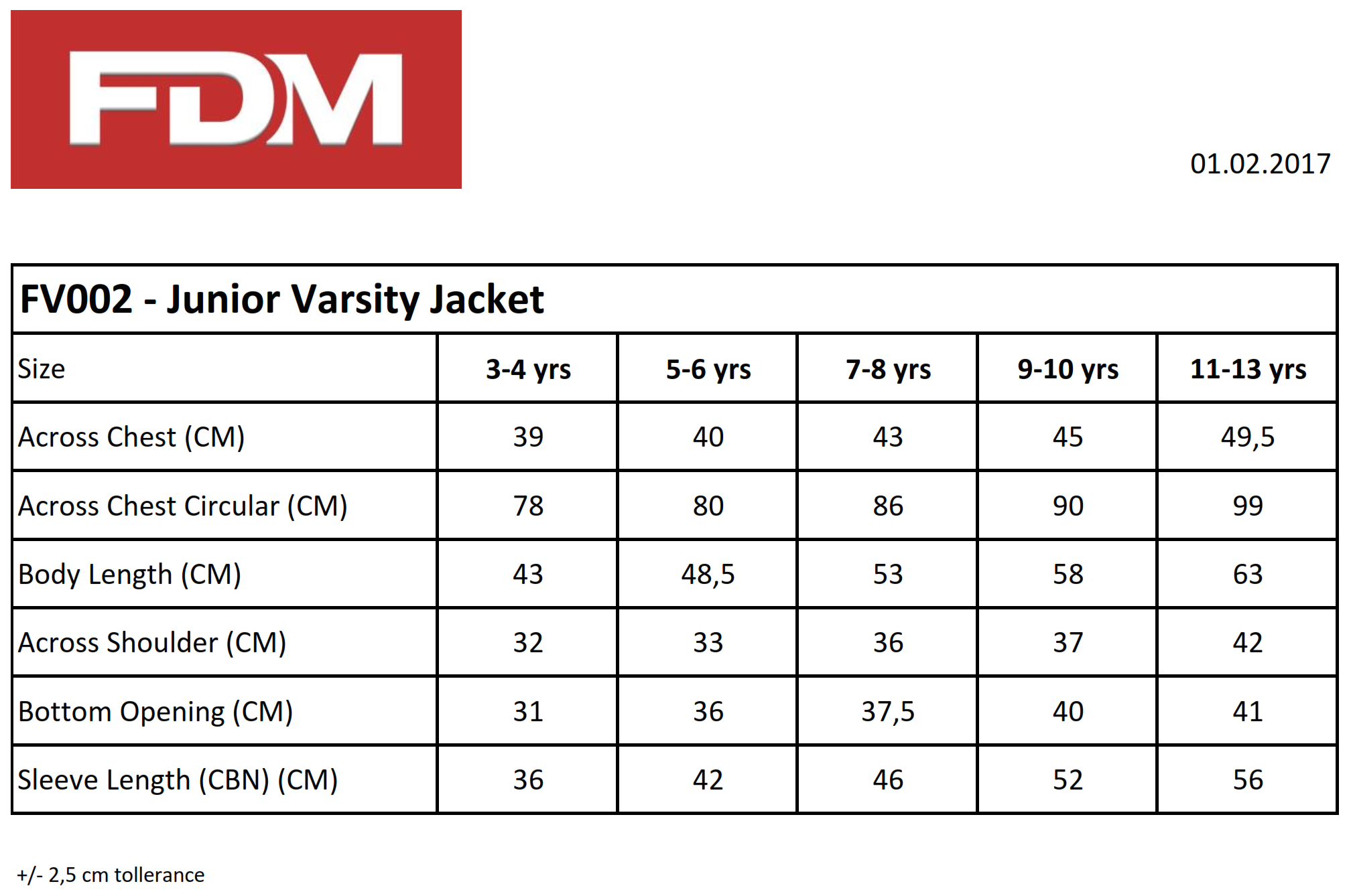 FDM: Kids` College Jacket FV002