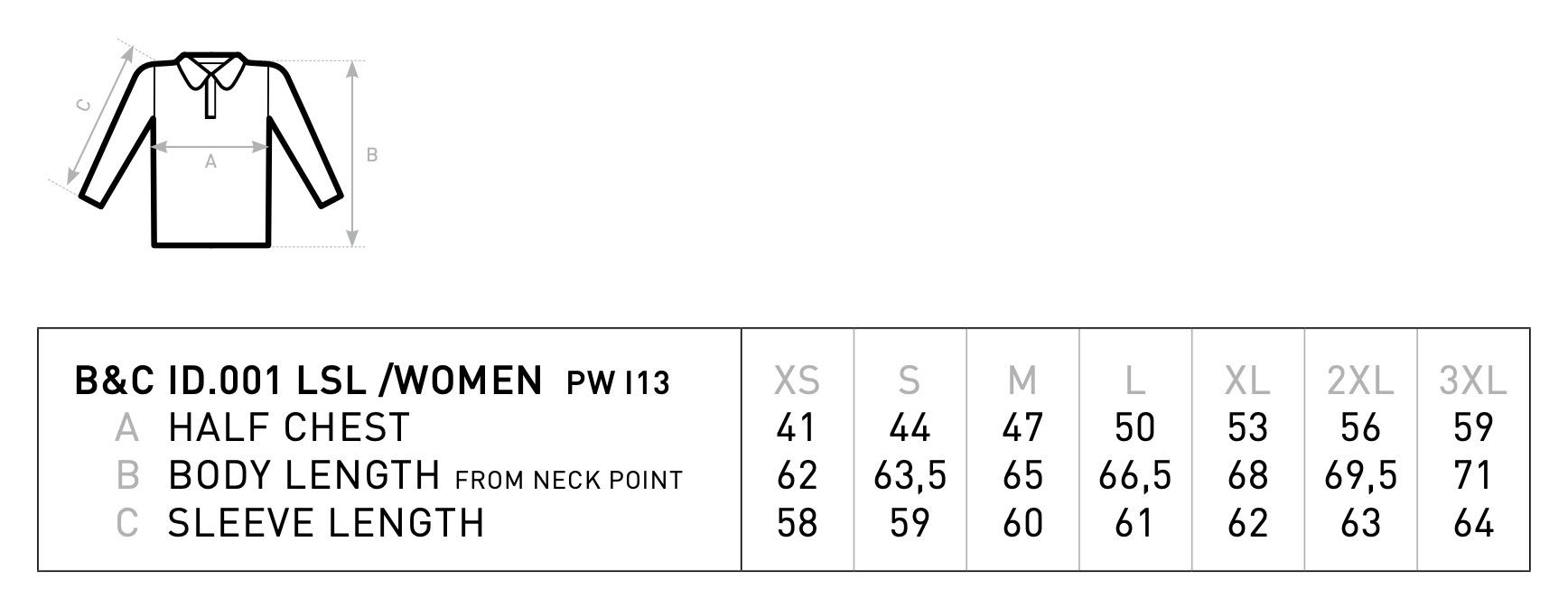 B&C: ID.001 LSL women Polo PWI13