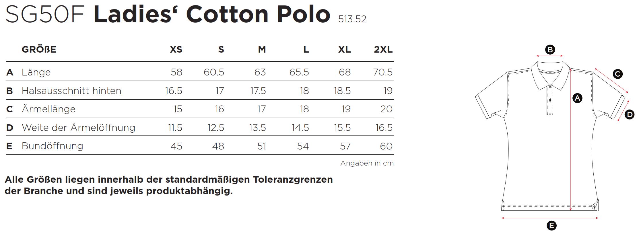 SG: Ladies` Cotton Polo SG50F