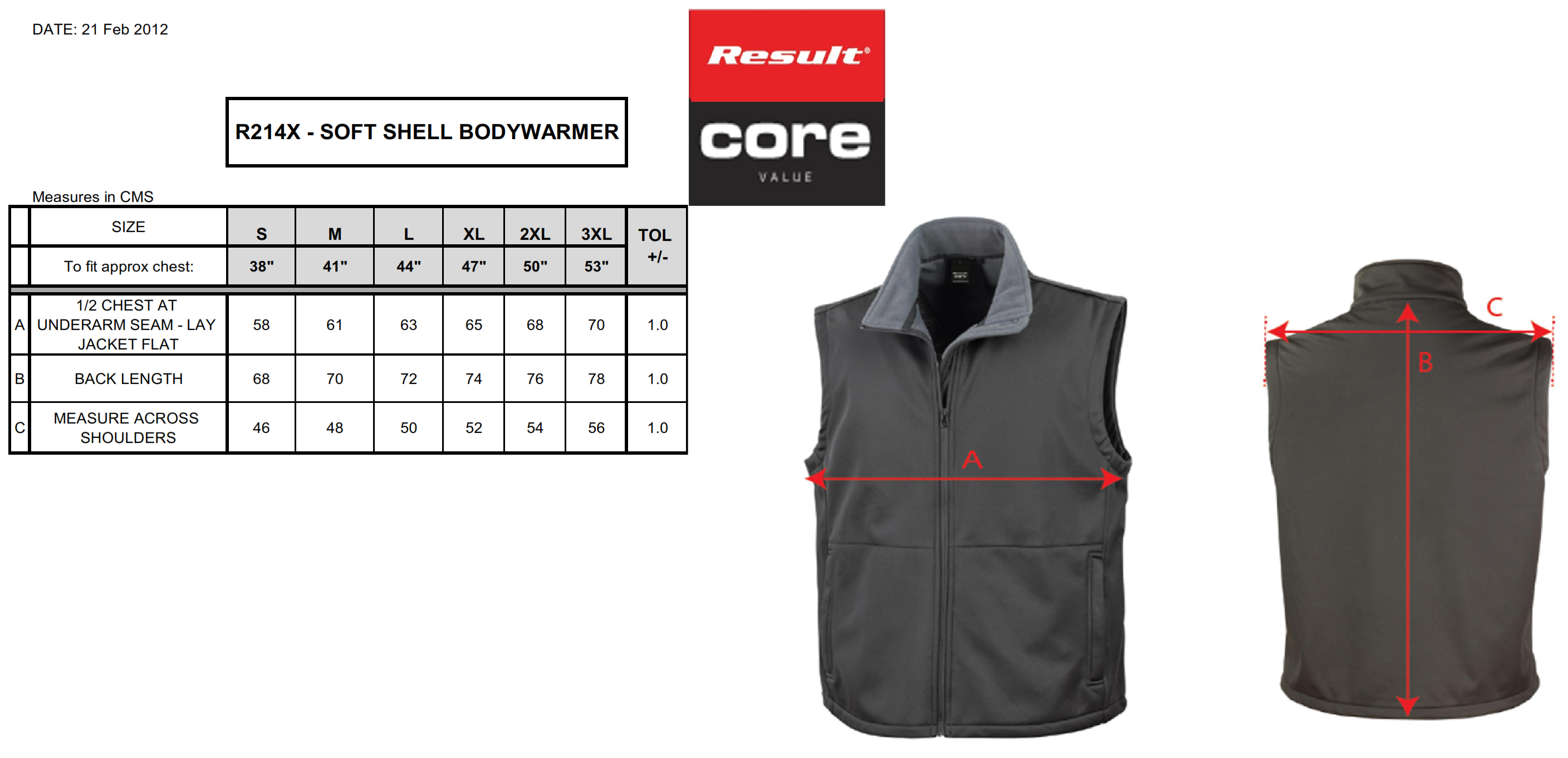 Result: Core Softshell Bodywarmer R214X