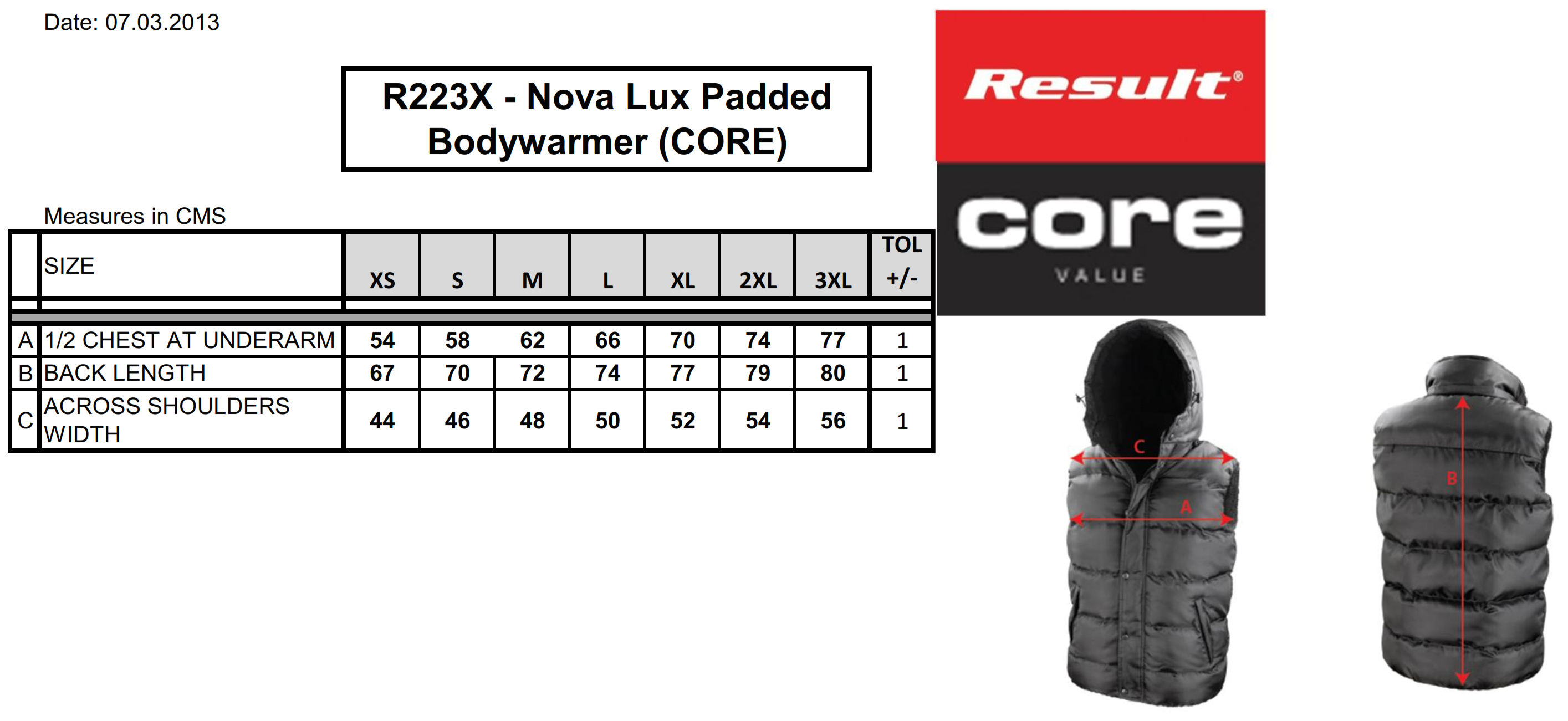Result: Nova Lux Padded Gilet R223X