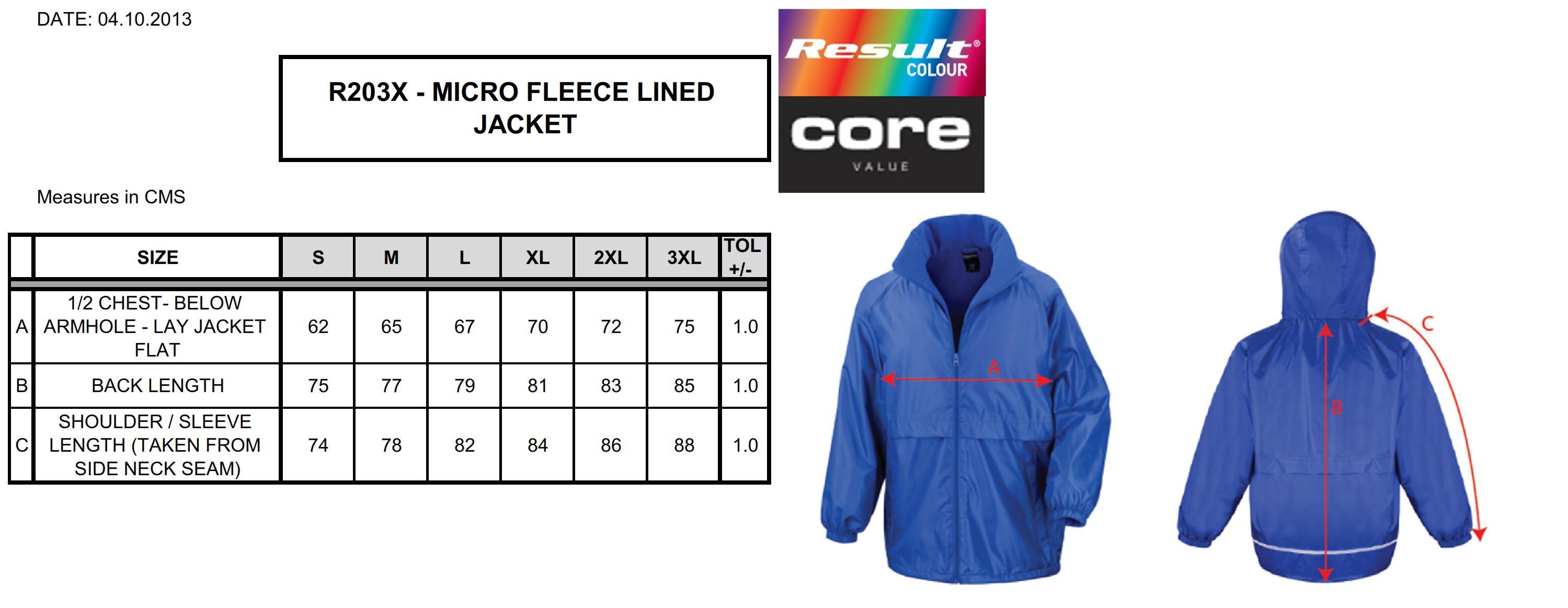Result: CORE Microfleece Lined Jacket R203X