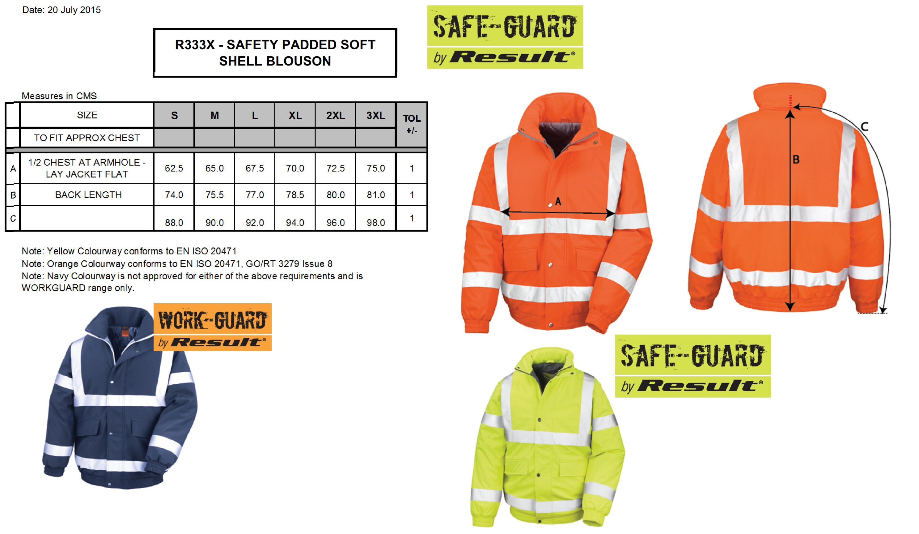 Result: Safety Padded Softshell Blouson R333X