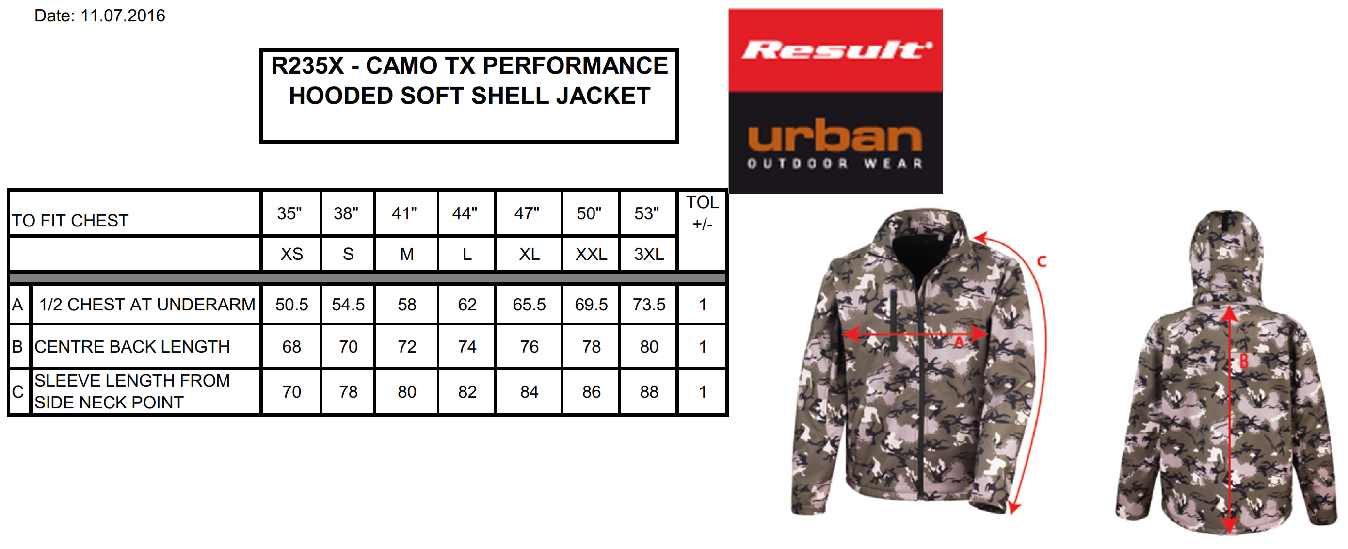Result: Camo TX Performance Hooded Softshell R235X