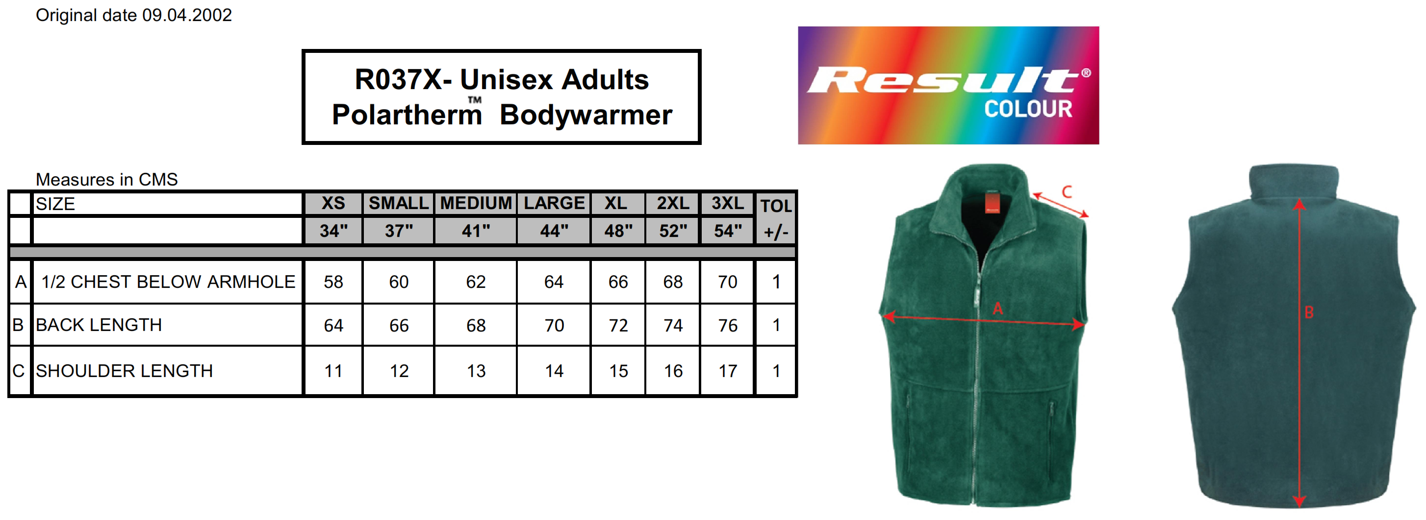 Result: Fleece Bodywarmer R037X
