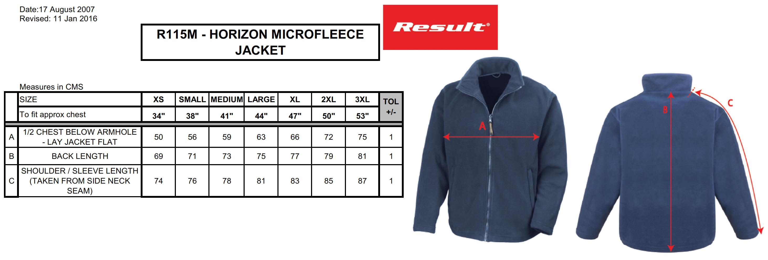 Result: Microfleece Jacket Horizon R115M