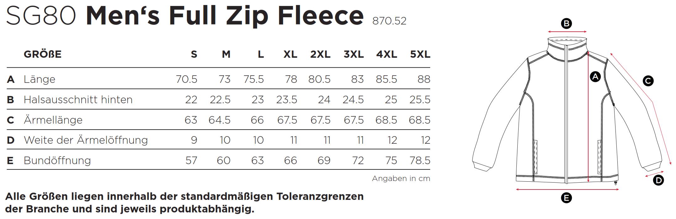 SG: Full Zip Fleece SG80