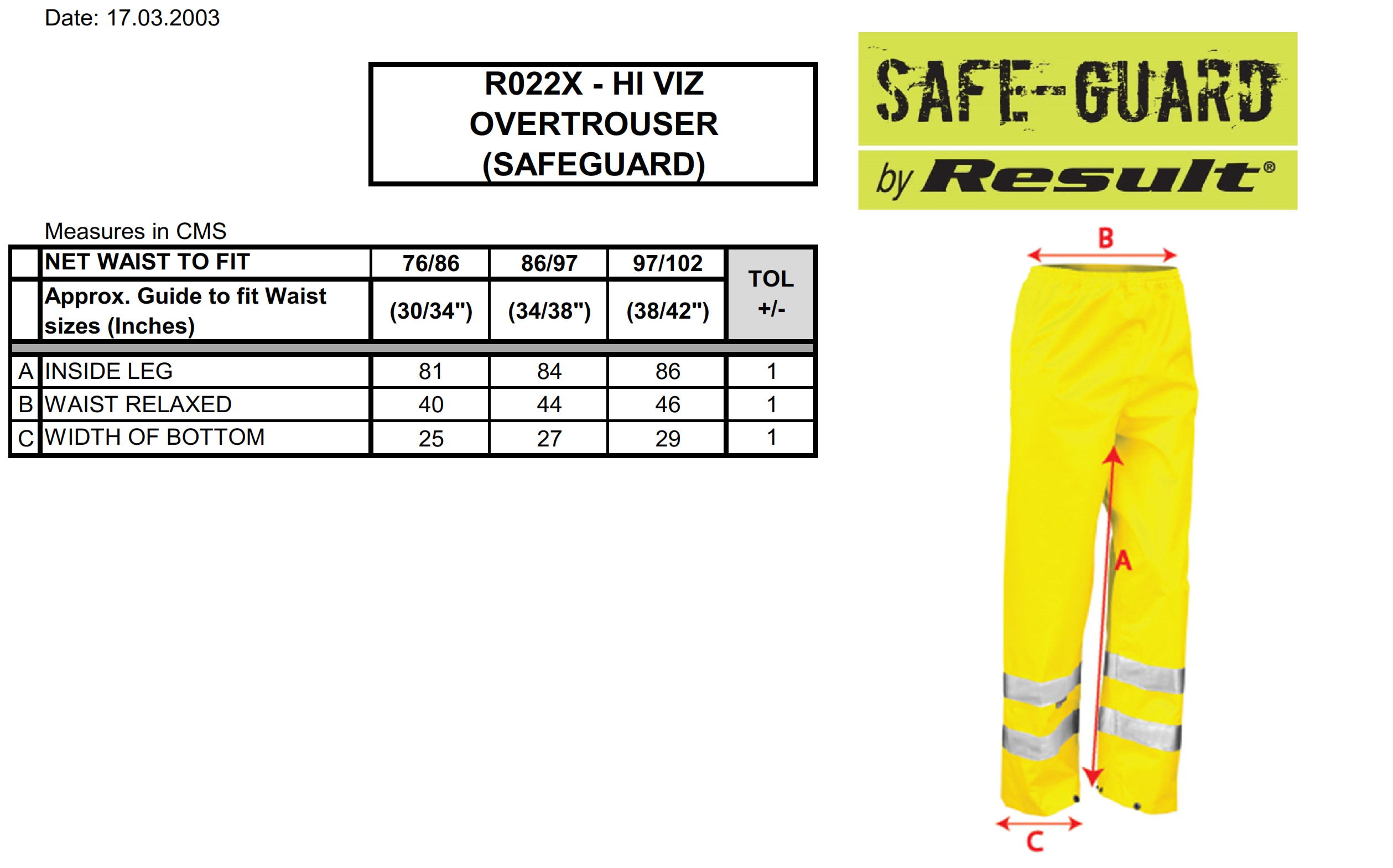 Result: High Profile Rain Trousers R22