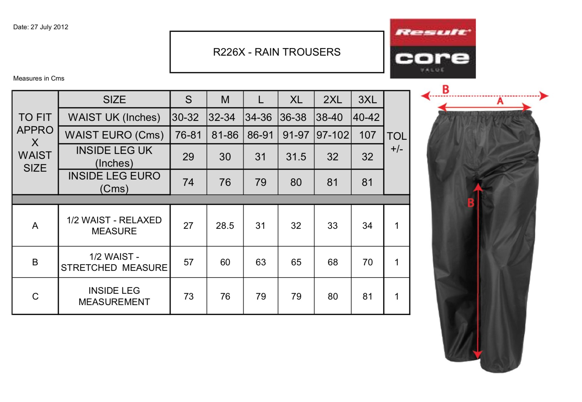 Result: StormDri Trousers R226X