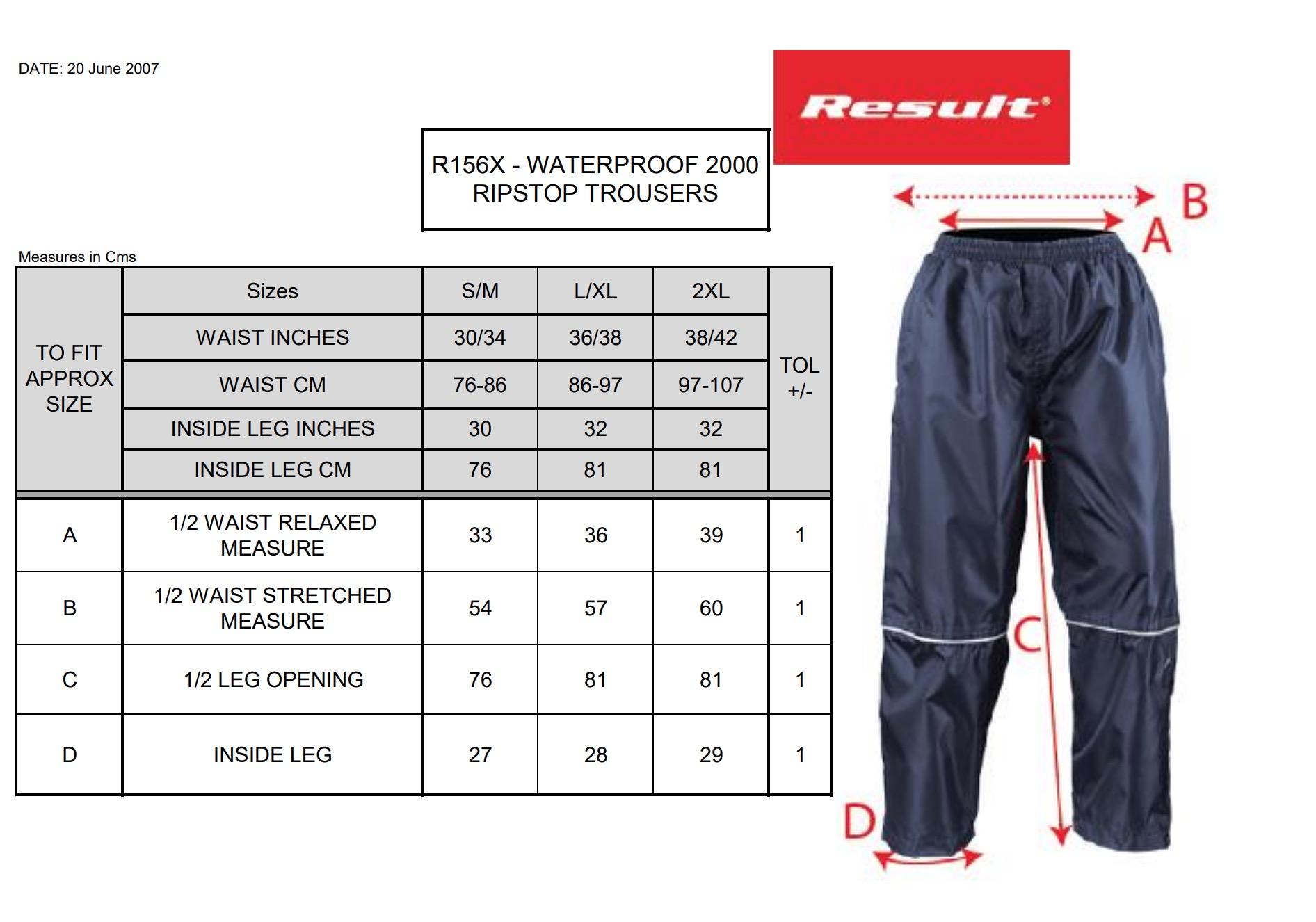 Result: Waterproof 2000 Pro-Coach Trouser R156X