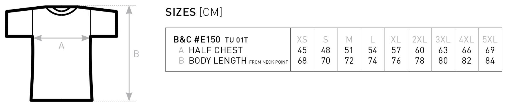 Größentabelle für B&C: #E150 T-Shirt TU01T