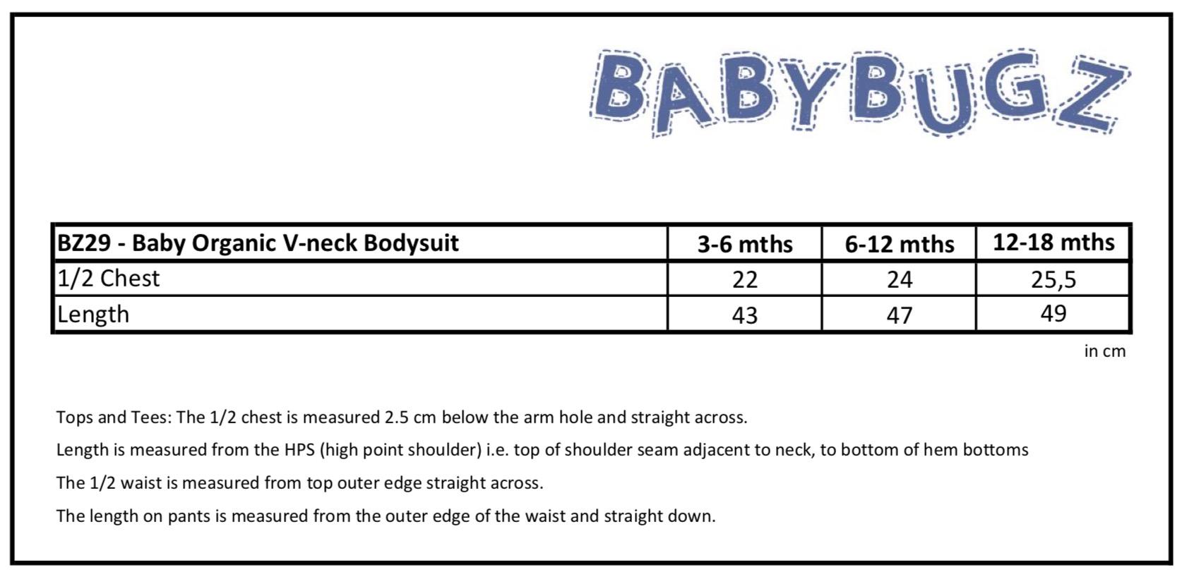 Größentabelle für BabyBugz: Baby Organic V-neck Bodysuit BZ29